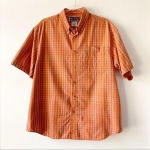 Columbia Orange Short Sleeve Button Down Large
